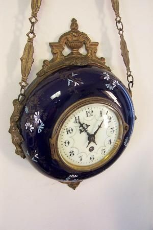 Antique French Farcot Cobalt Porcelain Wall Clock At 1 800