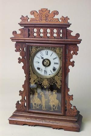 E N Welch Antique Mantel Clock In Walnut At 1 800 4clocks Com